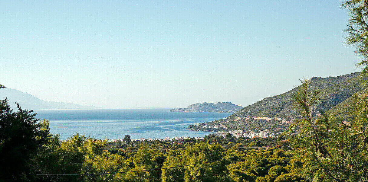 Fantastic hillside and sea view of the Corinthian Gulf and the city of Loutraki.