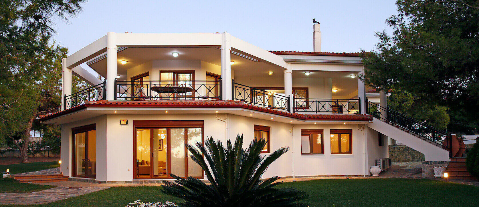 The luxury Loutraki Green Villa exterior. Located amongst pine trees it offers privacy and comfort.